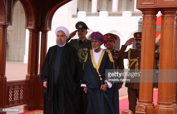 Irans President Hassan Rouhani is welcomed by Oman's Sultan Qaboos Bin Said Al Said with official welcome ceremony before their meeting in Muscat...