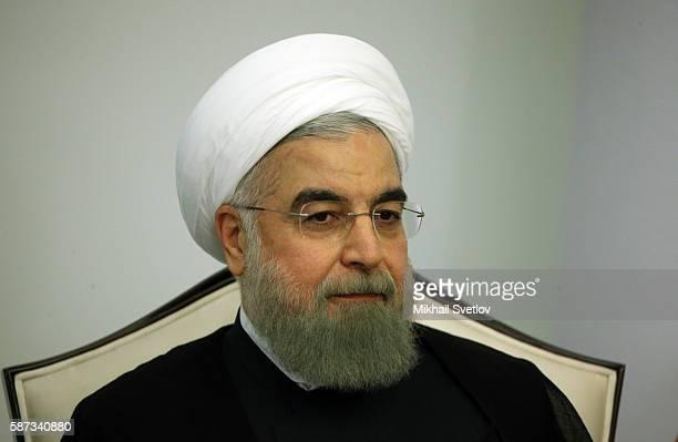 Iran's President Hassan Rouhani speeches during his bilateral meetinf with Russian President Vladimir Putin on August 8 2016 in Baku Azerbaijan...