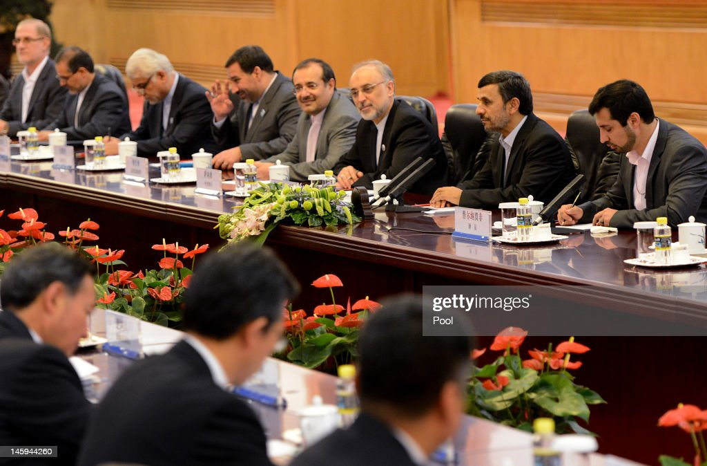 Iran's President <a gi-track='captionPersonalityLinkClicked' href=/galleries/search?phrase=Mahmoud+Ahmadinejad&family=editorial&specificpeople=221337 ng-click='$event.stopPropagation()'>Mahmoud Ahmadinejad</a> (2nd R) attends a bilateral meeting with Chinese President Hu Jintao at the Great Hall of the People on June 8, 2012 in Beijing, China. China announced that it will provide a 150 million yuan (23.8 million US dollars) grant to the Afghan government during 2012, state media reported.