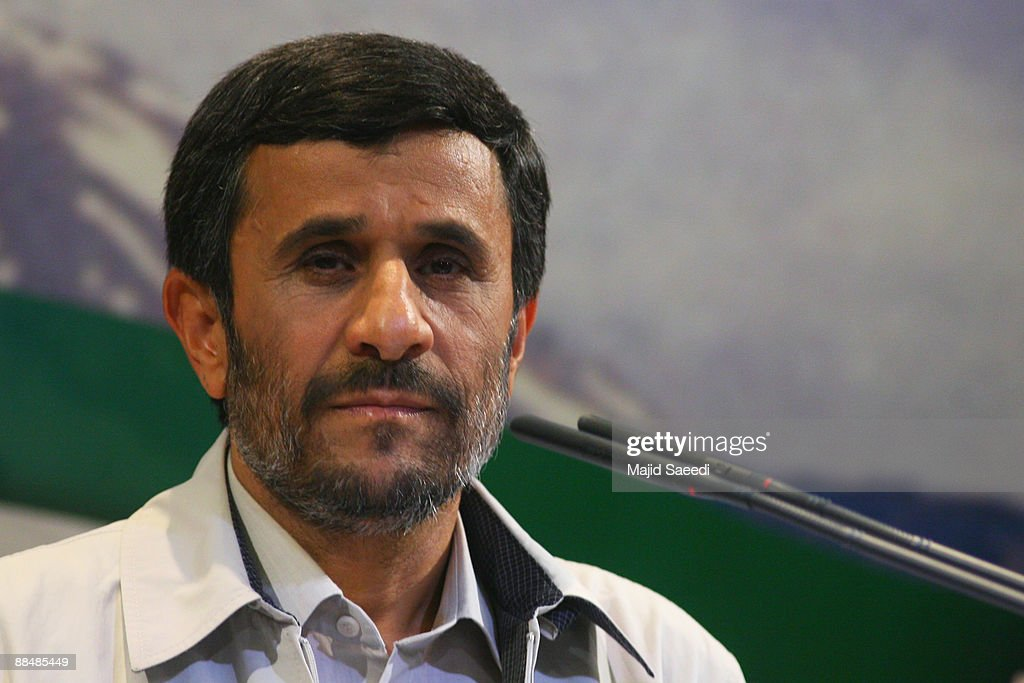 Iran's President Mahmoud Ahmadinejad holds a press conference on June 14 2009 in Tehran Iran Tens of thousands of people have joined a rally in...