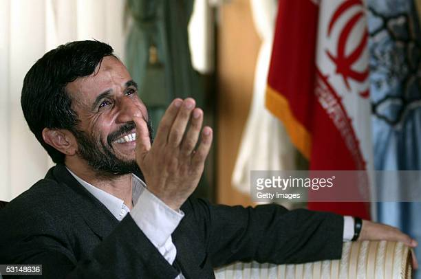Iran's Presidentelect Mahmoud Ahmadinejad waves from his office on June 25 2005 in Tehran Iran Ahmadinejad the conservative mayor of Tehran won the...