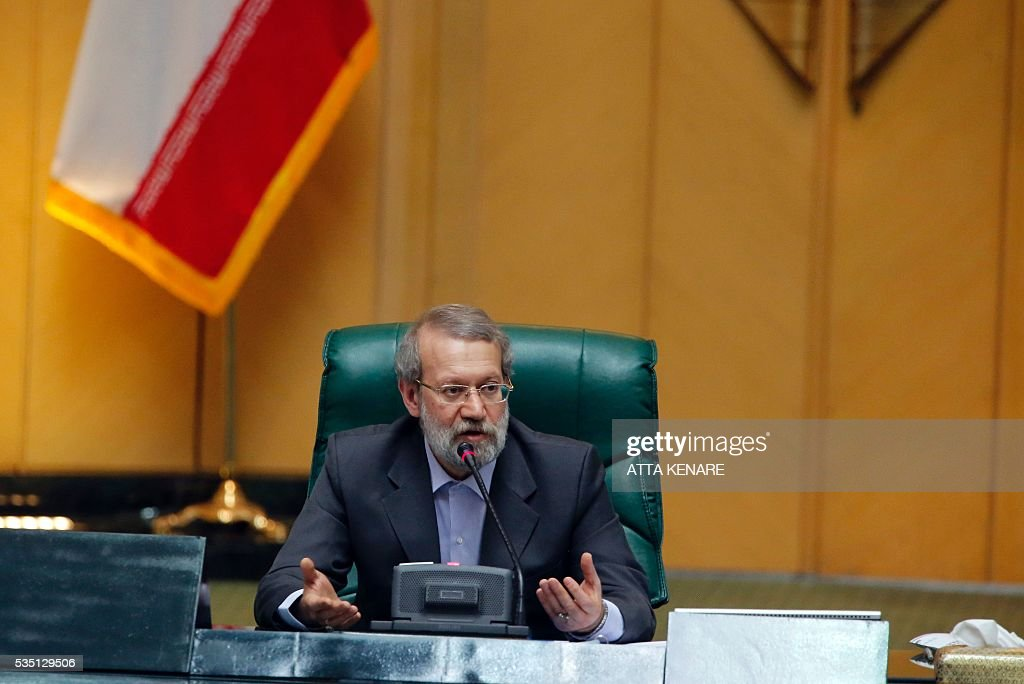 Iran's re-elected Parliament speaker Ali Larijani speaks following the announcment of the result in Tehran on May 29, 2016. Larijani, a moderate conservative, retained the speakership of Iran's parliament despite major gains for reformists in February elections, benefiting from credit gained by his support for last year's nuclear deal. / AFP / ATTA