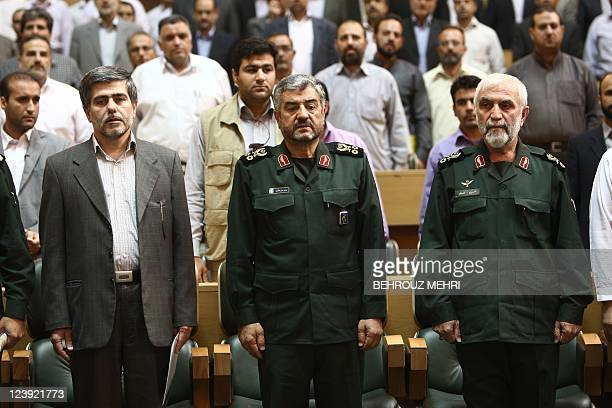 Iran's Revolutionary Guards commanders General Mohammad Ali Jafari and Brigadier General Hossein Hamedani and head of the Iranian Atomic Energy...