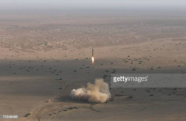 Iran's Revolutionary Guards fire a Shahab2 longrange ballistic missile during the first phase of military manoeuvres in the central desert outside...