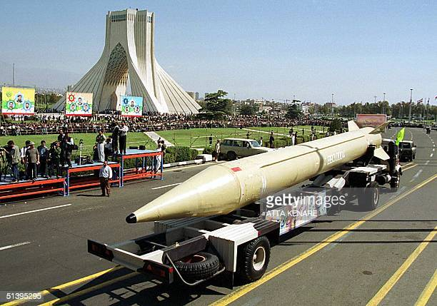 Iran's Shahab 3 surfacetosurface missile is displayed in Tehran 21 September 2000 during a military parade in Tehran marking the 20th anniversary of...