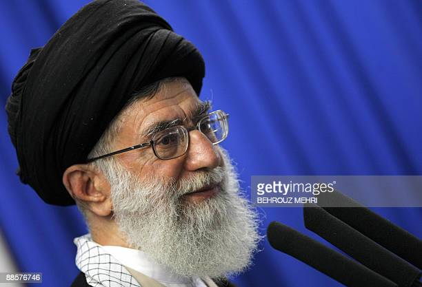 Iran's supreme leader Ayatollah Ali Khamenei addresses the faithful at the weekly Muslim Friday prayers at Tehran University on June 19 2009 Khamenei...