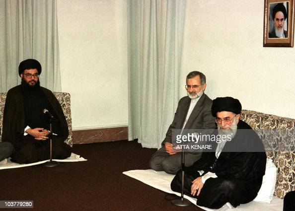 Iran's supreme leader Ayatollah Ali Khamenei and Foreign Minister Kamal Kharazi meet with the leader of Lebanon's Hezbollah movement Sheikh Hasan...