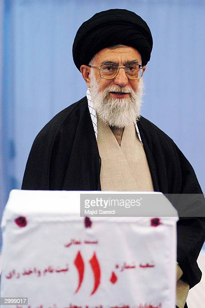 Iran's supreme leader Ayatollah Ali Khamenei casts his vote February 20 in Tehran Iran Polling stations across Iran opened for parliamentary...