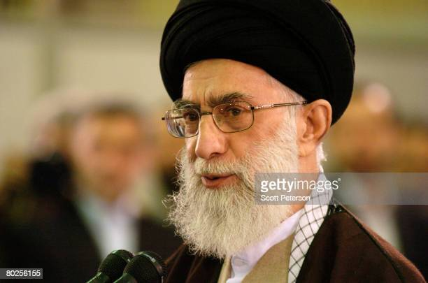 Iran's supreme religious leader Ayatollah Sayed Ali Khamenei speaks after casting his ballot in elections for the 8th 'majlis' or parliament March 14...