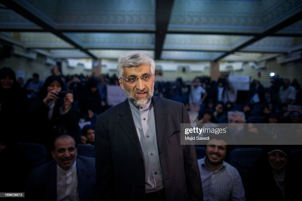 Iran's top nuclear negotiator and presidential candidate for the upcoming elections, <a gi-track='captionPersonalityLinkClicked' href=/galleries/search?phrase=Saeed+Jalili&family=editorial&specificpeople=4586103 ng-click='$event.stopPropagation()'>Saeed Jalili</a>, attends a campaign rally, on May 29, 2013 in Tehran, Iran. Jalili, who is running in next month's presidential elections says he will promote a policy of resistance against the West if elected. The elections are scheduled for June 14 and Jalili has stated that he wishes to revive policies of the 1979 Islamic revolution that brought clerics to power.