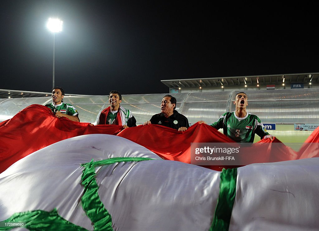 Iraq celebrate at full-time following the FIFA U20 World Cup Round of 16 match between Iraq and Paraguay at Akdeniz University Stadium on July 03, 2013 in Antalya, Turkey.