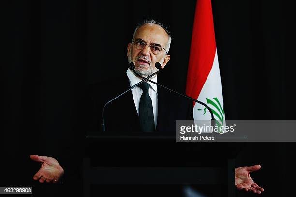 Iraq Foreign Minister Dr Ibrahim alJaafari speaks to the media during a press conference following a meeting with New Zealand Foreign Minister Murray...