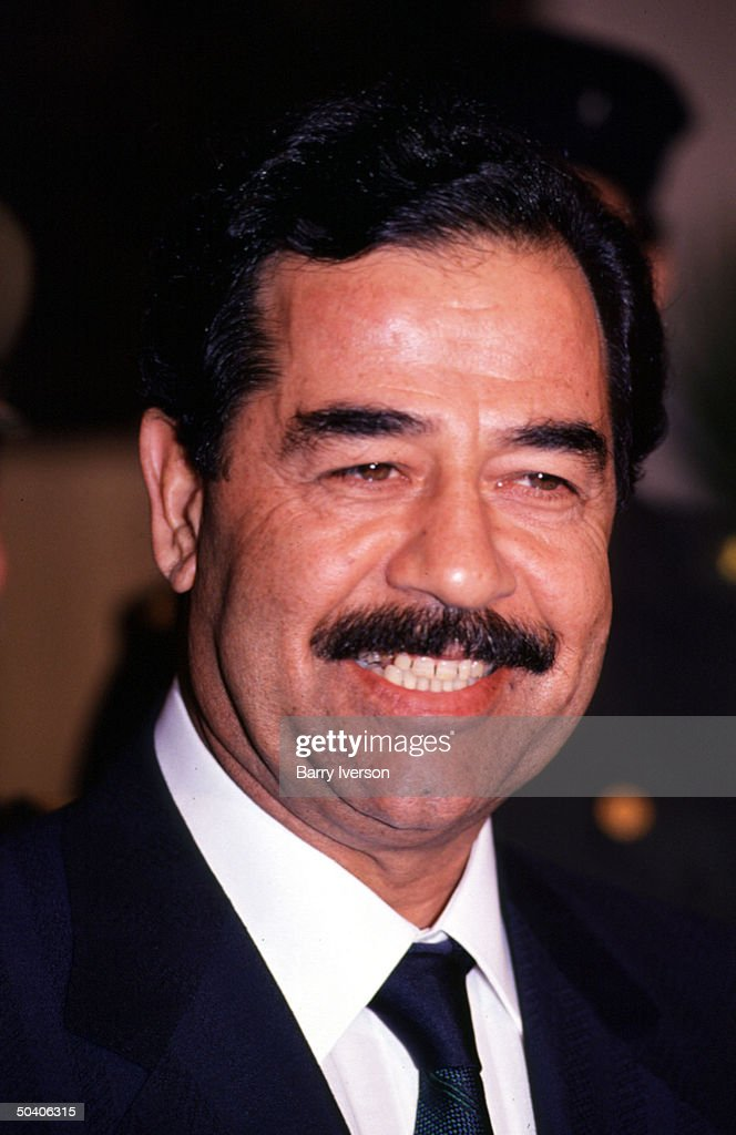 Iraq leader <a gi-track='captionPersonalityLinkClicked' href=/galleries/search?phrase=Saddam+Hussein&family=editorial&specificpeople=121553 ng-click='$event.stopPropagation()'>Saddam Hussein</a> during one-day visit to Cairo for talks with Egyptian President Hosni Mubarak.