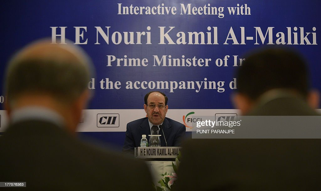 Iraq Prime Minister Nuri Al-Malaki addresses Indian business delegates at a meeting in Mumbai on August 24, 2013. Iraq's prime minister pitched for investment from India to rebuild his war-shattered nation, which is a critical energy supplier to New Delhi, during his state visit to the country.