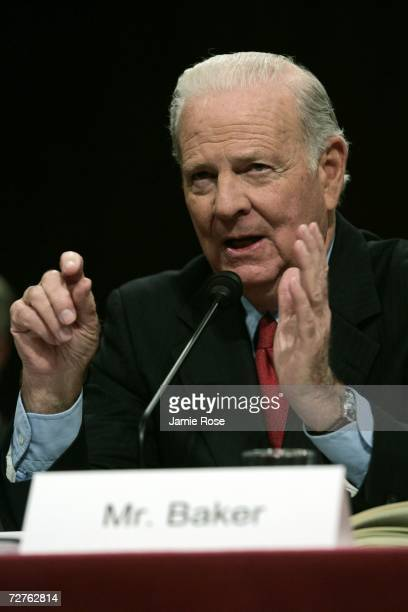 Iraq Study Group cochair Former Secretary of State James Baker III testifies before the Senate Armed Service Committee December 7 2006 on Capitol...
