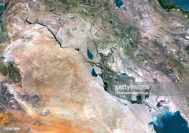 Iraq true colour satellite image with border North is at top Iraq comprises a green fertile area that lies between the Tigris and Euphrates rivers...