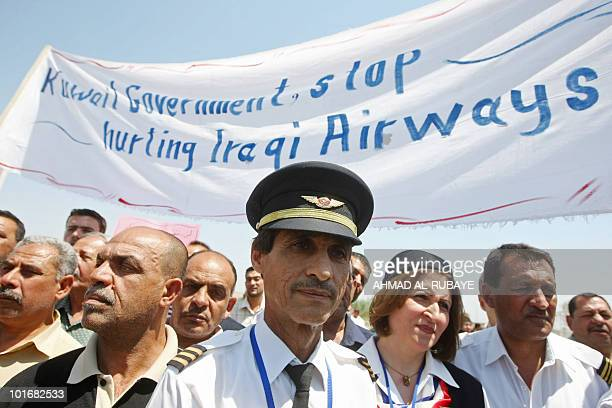 Iraqi Airways employees demonstrate at Baghdad airport on May 5 2010 against his detention of the airline's chief executive Kifah Hassan Jabbar in...