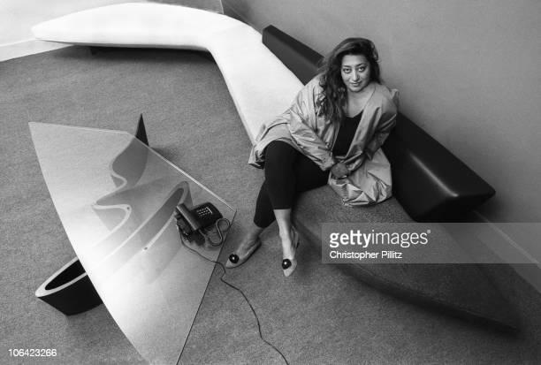 Iraqi architect Zaha Hadid in her London office UK circa 1985