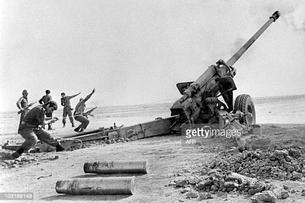 Iraqi artillery shells on October 02 1980 in Shalamja Iranian troops gathered near Iranian port city of Abadan during IranIraq war Iraqi troops...