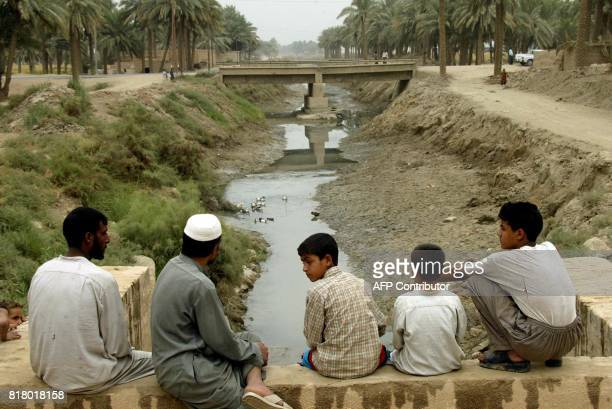 Iraqi boys watch ducks playing in the alAbbasiyat almost dried river south of alNajaf some 180 kms south of Baghdad 30 October 2002 Water supplies...