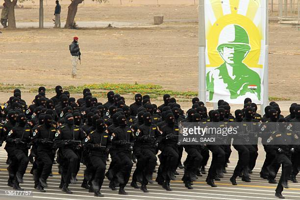 Iraqi commando forces parade in Baghdad to mark the 91st Army Day on January 6 weeks after US troops completed their pullout The Armed Forces Day...