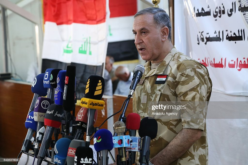Iraqi Defense Minister Khaled al-Obaidi speaks to media during his visit at Military Martyrs and Retirees Department in Baghdad, Iraq on June 29, 2016.