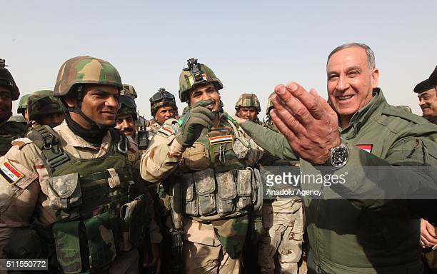 Iraqi Defense Minister Khaled alObaidi visits Iraqi soldiers as they go to Mahmur district of Mosul to attend an operation aiming retake the city...
