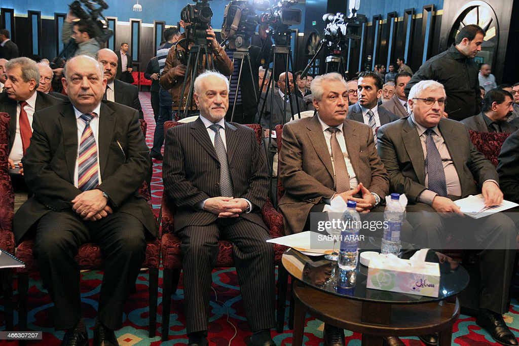 Iraqi Deputy Prime Minister for Energy Affairs Hussein al-Shahristani (2ndL) and Iraqi Oil Minister Abdelkarim al-Luaybi (2ndR) listen during a meeting gathering politicians and oil experts to discuss the export of oil from Iraq's northern Kurdish region on February 1, 2014 in the Iraqi capital, Baghdad. Al-Shahristani criticised the autonomous Kurdish region's push towards exporting oil independently of Baghdad, calling it a grey area lacking in transparency.