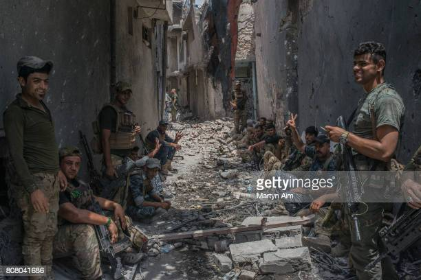 Iraqi Emergency Response Division troops in the Islamic State occupied Old City district where heavy fighting continues on July 4 2017 in Mosul Iraq...