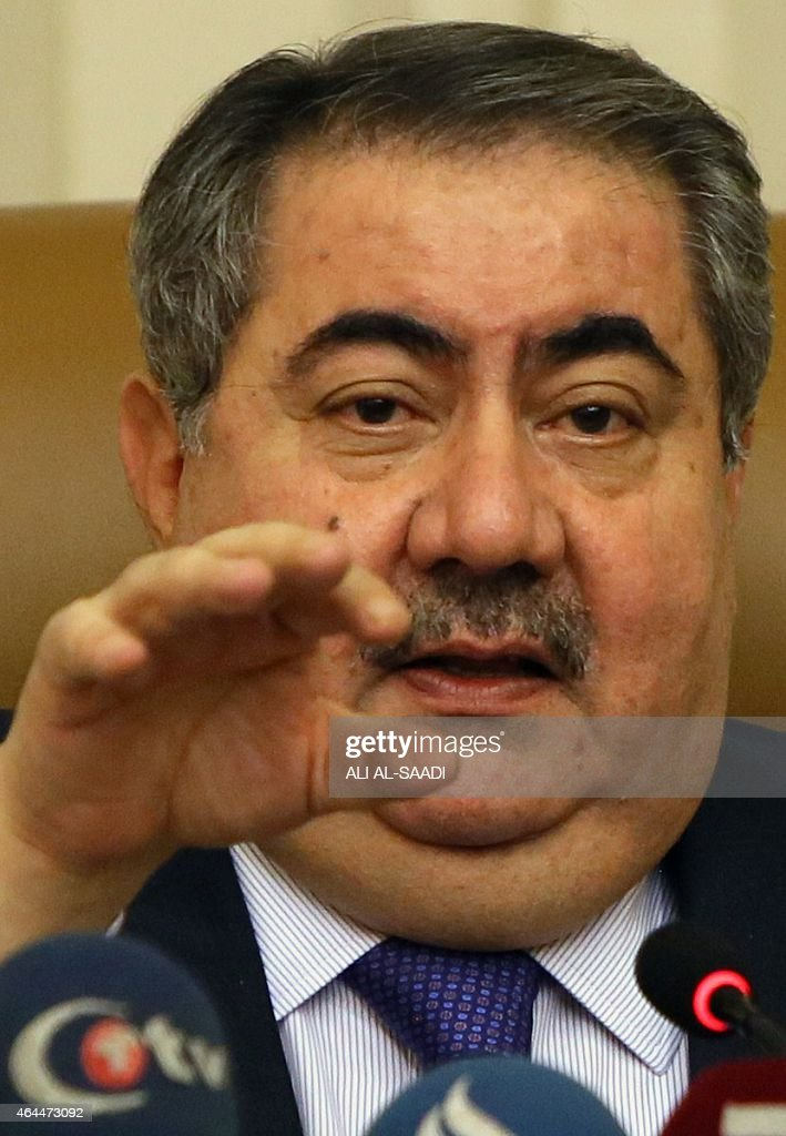 Iraqi Finance Minister <a gi-track='captionPersonalityLinkClicked' href=/galleries/search?phrase=Hoshyar+Zebari&family=editorial&specificpeople=227333 ng-click='$event.stopPropagation()'>Hoshyar Zebari</a> speaks during a press conference during which he is expected to address the contentious issue of revenue sharing between Baghdad and the autonomous region of Kurdistan on February 26, 2015 in Baghdad. AFP PHOTO / ALI AL-SAADI
