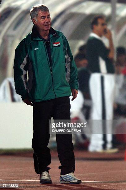 Iraqi football team coach Egil Roger Olsen watches the first round of the World Cup Asian qualifying match between Pakistan and Iraq in Lahore 22...
