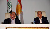 Iraqi Foreign Minister Hoshyar Zebari and Chief of Staff for Kurdish Regional Government Fuad Hussein hold a joint press conference about the...