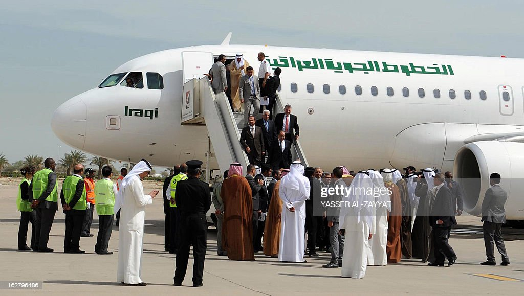 Iraqi Foreign Minister Hoshyar Zebari arrives at Kuwait International Airport in Kuwait City on February 27, 2013, on-board the first Iraqi airplane to land in Kuwait since the Iraqi invasion in 1990. Iraqi Airways will resume direct flights to Kuwait from February 16 after a 22-year stoppage due to the Iraqi invasion of the Gulf state, a top Kuwaiti civil aviation official said.