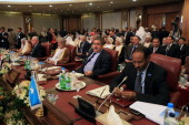 Iraqi Foreign Minister Hoshyar Zebari attends the opening session of the Arab League Foreign ministers's meeting in preparation for the Arab Summit...