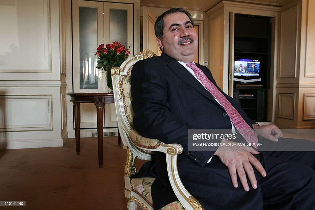 Iraqi Foreign Minister <a gi-track='captionPersonalityLinkClicked' href=/galleries/search?phrase=Hoshyar+Zebari&family=editorial&specificpeople=227333 ng-click='$event.stopPropagation()'>Hoshyar Zebari</a> in his hotel the day hen Saddam Husseun was sentnenced to death in Paris, France on November 05, 2006.