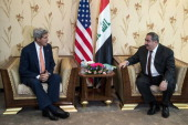 Iraqi Foreign Minister Hoshyar Zebari meets US Secretary of State John Kerry in Baghdad on June 23 2014 Kerry was in Baghdad to push for Iraqi unity...