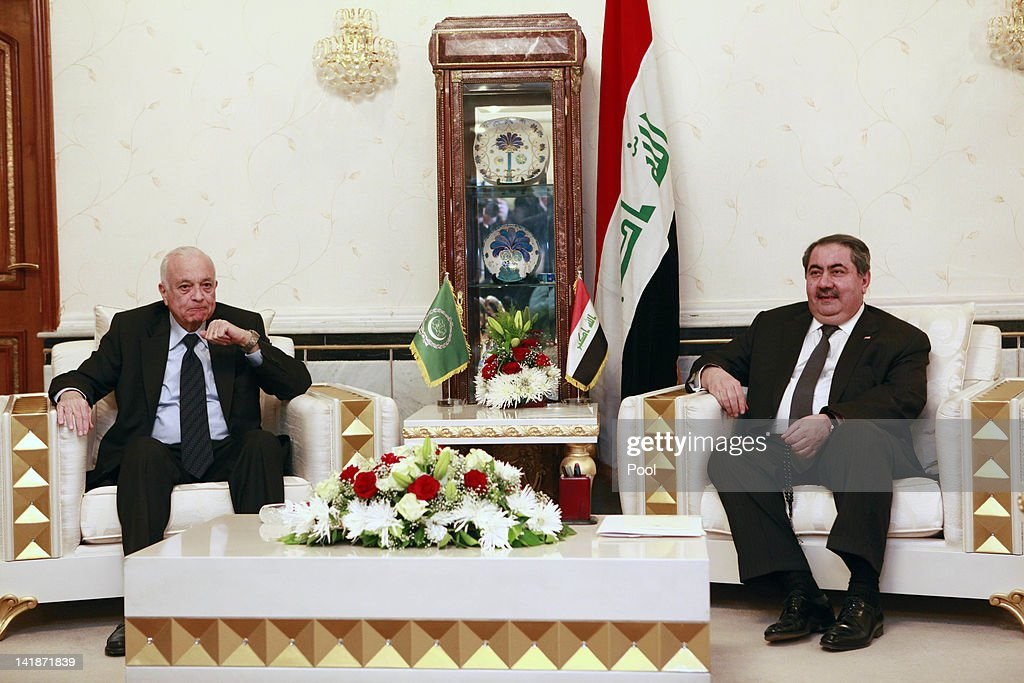 Iraqi Foreign Minister <a gi-track='captionPersonalityLinkClicked' href=/galleries/search?phrase=Hoshyar+Zebari&family=editorial&specificpeople=227333 ng-click='$event.stopPropagation()'>Hoshyar Zebari</a>, right, meets with Arab League Secretary General Nabil Elaraby, left, March 25, 2012 in Baghdad, Iraq. Elaraby flew into Baghdad on Sunday and was holding meetings with Iraq's top leaders, including Foreign Minister <a gi-track='captionPersonalityLinkClicked' href=/galleries/search?phrase=Hoshyar+Zebari&family=editorial&specificpeople=227333 ng-click='$event.stopPropagation()'>Hoshyar Zebari</a>.