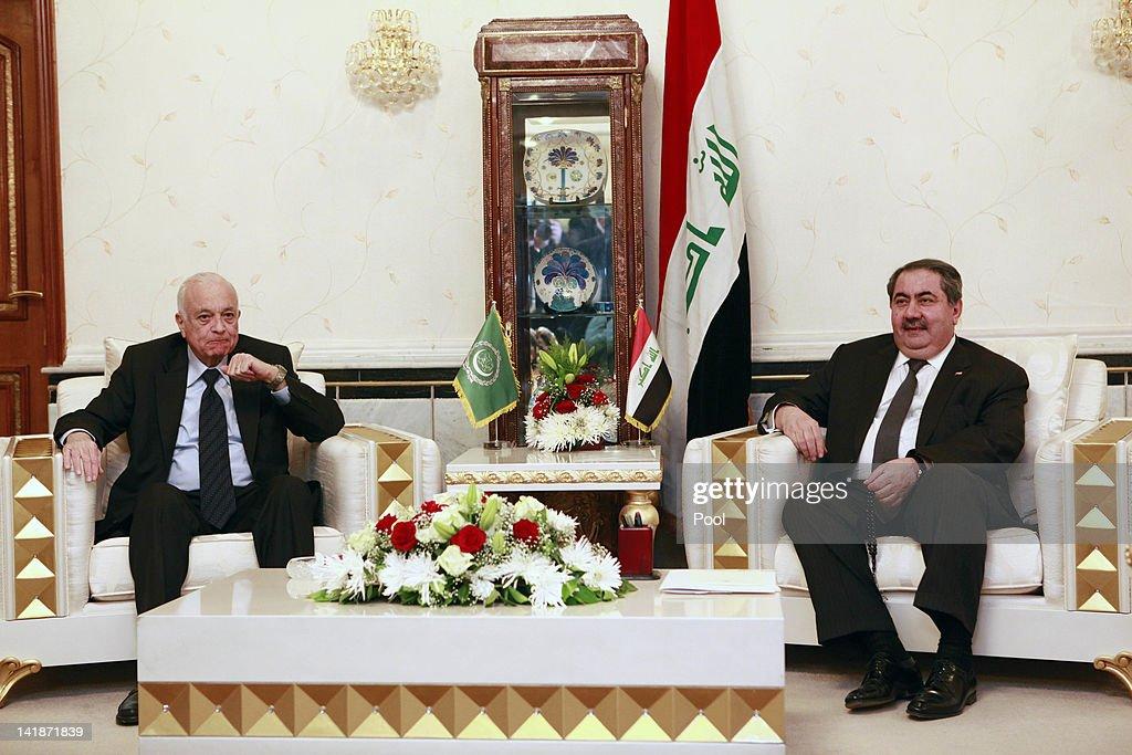 Iraqi Foreign Minister Hoshyar Zebari right meets with Arab League Secretary General Nabil Elaraby left March 25 2012 in Baghdad Iraq Elaraby flew...