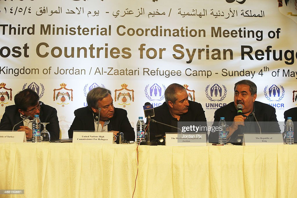 Iraqi foreign minister Hoshyar Zebari speaks as High Commissioner for Refugees Antonio Guterres and ministers of Iraq Turkey Lebanon Egypt and Jordan...