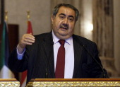 Iraqi Foreign Minister Hoshyar Zebari speaks during a joint press conference with his Kuwaiti counterpart Sheik Sabah Khalid AlHamad AlSabah in...