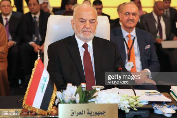 Iraqi Foreign Minister Ibrahim alJaafari attends the preparatory meeting of Arab Foreign Ministers during the 28th Summit of the Arab League at the...