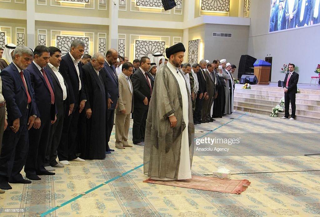 Iraqi Interior Minister Mohammed alGaban attend Eid alFitr Mass Prayer leaded by President of the Islamic Supreme Council of Iraq Ammar alHakim at...