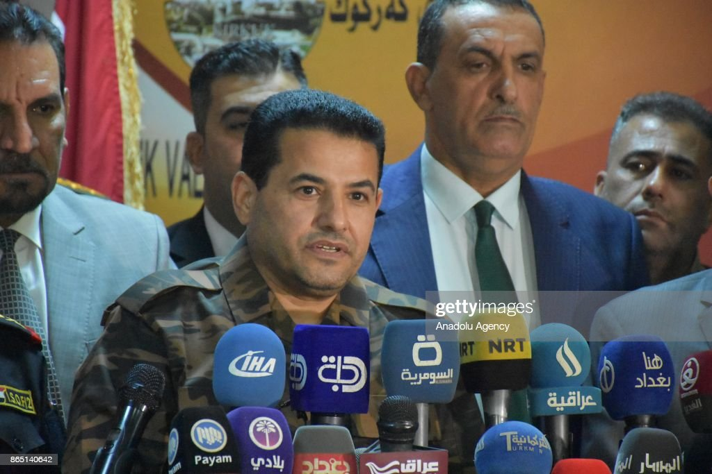 Iraqi Interior Minister, Qasim Mohammad Jalal al-Araji holds a press conference during his visit in Kirkuk, Iraq on October 22, 2017. Araji demand the returning of the Kirkuk's residents those left the city due to the Iraqi forces operations.