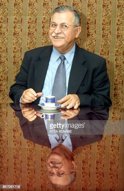 Iraqi Kurd leader Jalal Talabani who heads the Patriotic Union of Kurdistan gives a press conference in Tehran 31 October 2002 Talabani said he was...