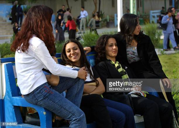 Iraqi Kurd students take a break at the courtyard of the Suleimaniya university in the Patriotic Union of Kurdistan controlled city of Suleimaniya...