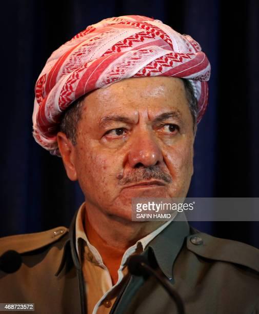Iraqi Kurdish leader Massud Barzani looks on during a joint press conference in Arbil the capital of the Kurdish autonomous region in northern Iraq...