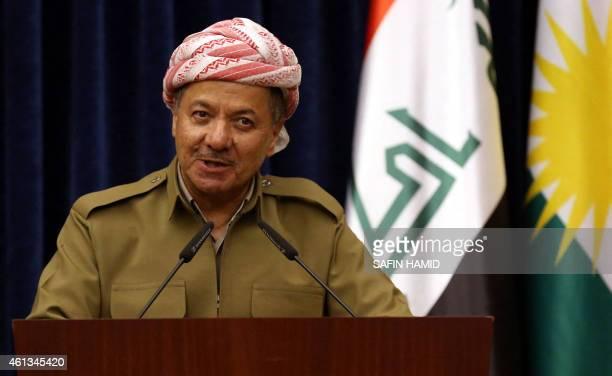Iraqi Kurdish leader Massud Barzani speaks during a press conference with German defense Minister Ursula von der Leyen in Arbil the capital of the...