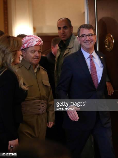 Iraqi Kurdish leader Massud Barzani welcomes US Defence Secretary Ashton Carter before a meeting on December 17 2015 in Arbil the capital of the...