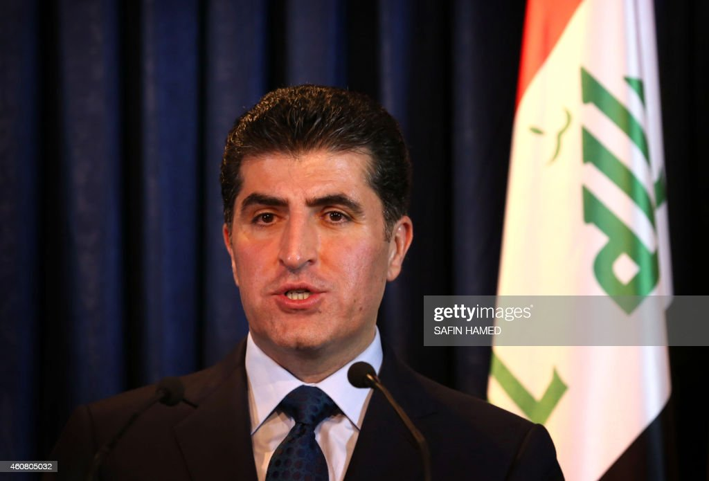 Iraqi Kurdish premier <a gi-track='captionPersonalityLinkClicked' href=/galleries/search?phrase=Nechirvan+Barzani&family=editorial&specificpeople=582951 ng-click='$event.stopPropagation()'>Nechirvan Barzani</a> speaks during a joint conference with Italian Foreign Minister Giulio Terzi on December 23, 2014 in Arbil, the capital of the Kurdish autonomous region in northern Iraq.