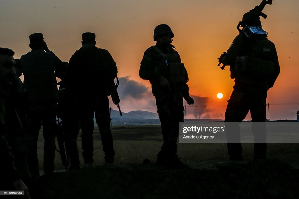 Iraqi Kurdish Regional Government's peshmerga forces attend the operation to clear Bashiqa Town as the operation to retake Iraq's Mosul from Daesh terrorists continues, in Mosul, Iraq on November 7, 2016. A much anticipated Mosul offensive to liberate the city from Daesh began midnight of 16th of October 2016.